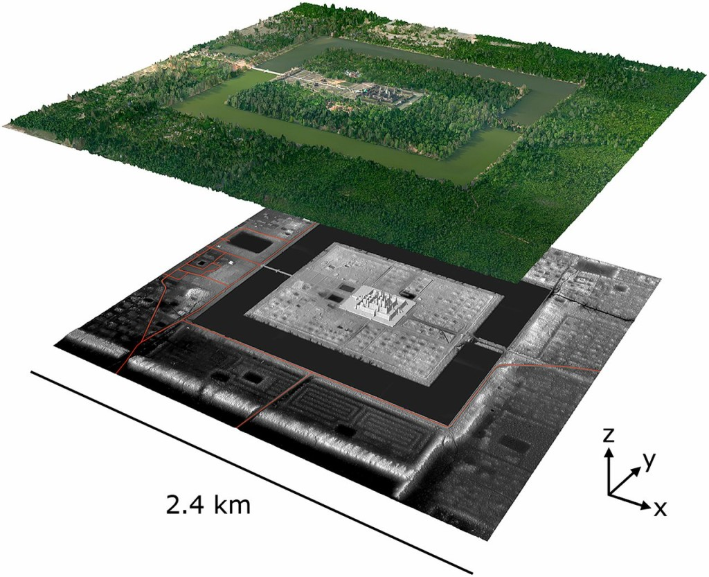 An oblique view of Angkor Wat and its immediate environs. Upper layer: Digital orthophoto mosaic, with elevation derived from the lidar digital surface model at 1-m resolution. Lower layer: extruded lidar digital terrain model, with 0.5-m resolution and 2× vertical exaggeration. Red lines indicate modern linear features including roads and canals.